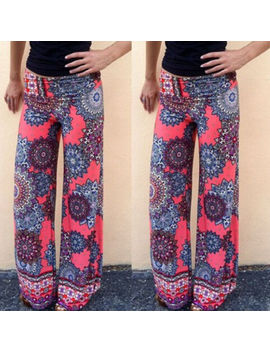 Womens Floral Wide Leg Pants High Waist Loose Yoga Gym Hippie Palazzo Trousers by Unbranded
