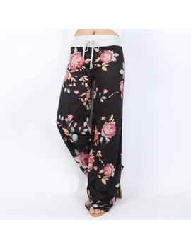 Us Women Ladies Casual Long Pants Floral Printed Lace Up Wide Leg Trousers Pants by Unbranded