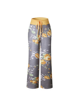 Womens Floral Long Pants Wide Leg High Waist Loose Sports Harem Palazzo Trousers by Unbranded