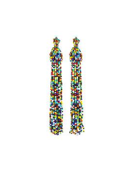 Rainbow Seed Bead Tassel Earrings by Kenneth Jay Lane