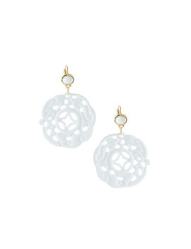 Carved Drop Wire Earrings, White by Kenneth Jay Lane