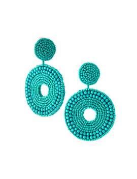 Seed Bead Circular Drop Clip On Earrings by Kenneth Jay Lane
