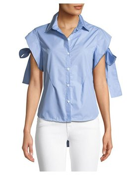 Ruffle Sleeve Button Front Blouse by Madisonne