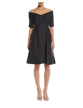 Off The Shoulder Cloque Cocktail Dress W/ Full Skirt by Rickie Freeman For Teri Jon