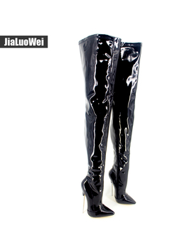 """6 1/4"""" Trend Women Winter Boots High Heels Patent Leather Boots Female Heel Plain Stretch Crotch Thigh High Boot Black Plus Size by Jialuowei Official Store"""