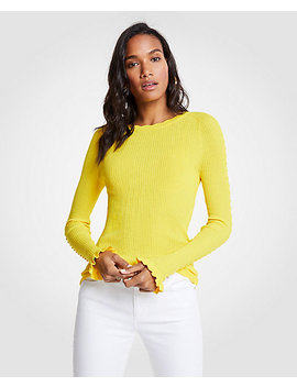 Ribbed Ruffle Cuff Sweater by Ann Taylor