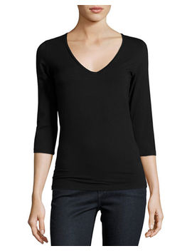 Soft Touch 3/4 Sleeve V Neck Tee by Majestic Paris For Neiman Marcus