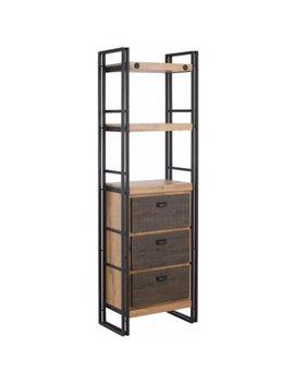 Scandinavian Living Katashi Industrial Acacia Wood And Metal 3 Drawer Bookcase by Scandinavian Living
