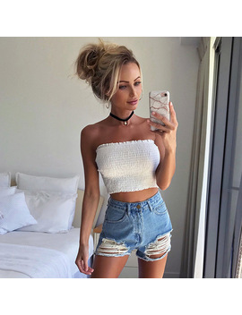Feitong Intimates Women Strapless Sexy Lady Solid Ruched Elastic Boob Bandeau Tube Tops Bra Lingerie Breast Wrap Crop Tops by Apparel&Acessories Store
