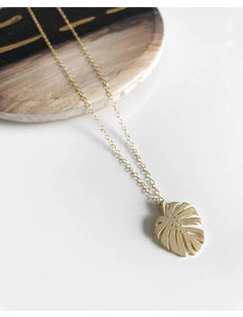 """Palm Tree Leaf Necklace, Gold Filled Chain Necklace, Delicate Necklace, 16"""" Length Necklace by Etsy"""