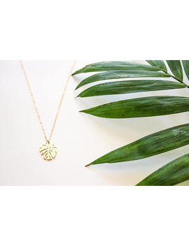 """Monstera Palm Leaf Necklace, 16 20"""" 14k Gold Chain by Etsy"""