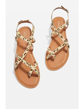 **Wide Fit Hiccup Strappy Leopard Sandals by Topshop