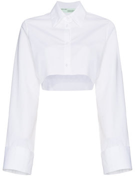 Cropped Button Down Cotton Shirt by Off White