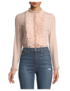 Arminda Button Down Ruffled Chiffon Blouse W/ Pearlescent Trim, Blush by Alice + Olivia