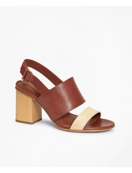 Two Tone Leather Block Heel Sandals by Brooks Brothers