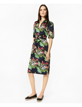 Tropical Print Cotton Sateen Tunic Dress by Brooks Brothers