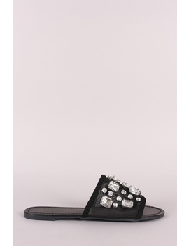 Jeweled Embellished Mesh Open Toe Slide Sandal by Urbanog