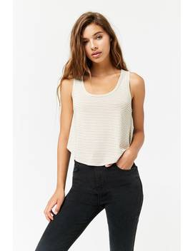 Striped Curved Hem Tank Top by Forever 21