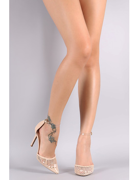 Qupid Clear Ankle Strap Mesh Pointy Toe Pump by Urbanog