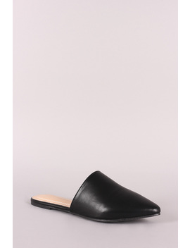 Vegan Leather Pointy Toe Mule Flats by Urbanog