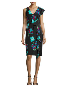 Sleeveless Floral Print Ruffled Cocktail Dress by Diane Von Furstenberg