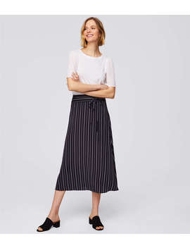 Striped Tie Waist Midi Skirt by Loft