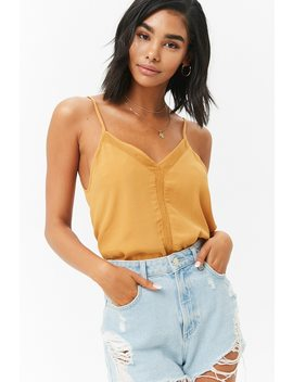 Net Insert V Neck Cami by Forever 21