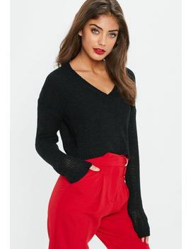 Black V Front Plunge Tape Yarn Cropped Sweater by Missguided