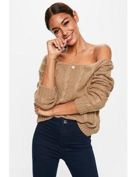 Camel Off The Shoulder Cable Detail Sweater by Missguided