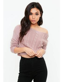Pink Off Shoulder Cropped Cable Sweater by Missguided