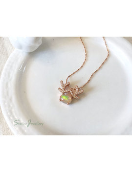 Opal Deer Antler Dainty Necklace Rose Gold Sterling Silver, Genuine Natural Ethiopian Fire Gemstone Valentines Anniversary Gift For Her by Etsy