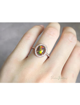 Black Opal Halo Ring Rose Gold Plated Sterling Silver, Genuine Natural Welo Ethiopian Fire Opal, Engagement Promise Anniversary Wedding Gift by Etsy