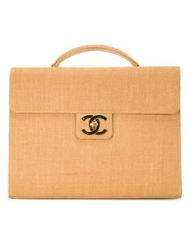 Raffia Briefcase by Chanel Vintage