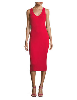 Sleeveless V Neck Ribbed Sweater Dress by Michael Michael Kors