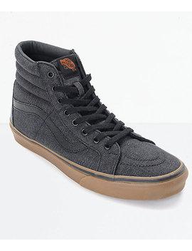 Vans Sk8 Hi Cl Black Denim & Gum Skate Shoes by Vans