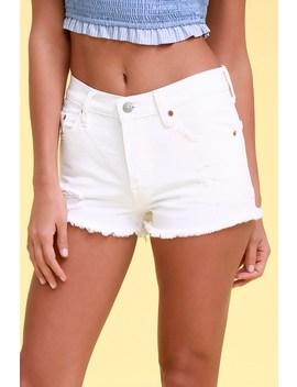 501 White Distressed Denim Cutoff Shorts by Levi's