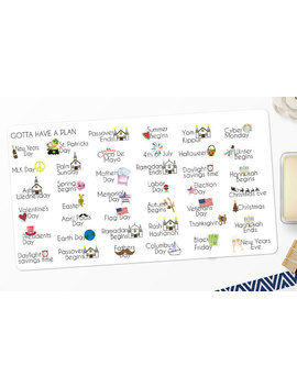 Planner Stickers Yearly Holiday Calendar For Erin Condren, Happy Planner, Filofax, Scrapbooking by Etsy