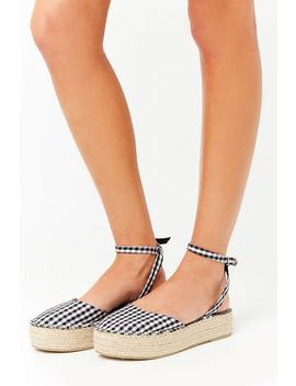 Gingham Espadrille Flatform Sandals by F21 Contemporary