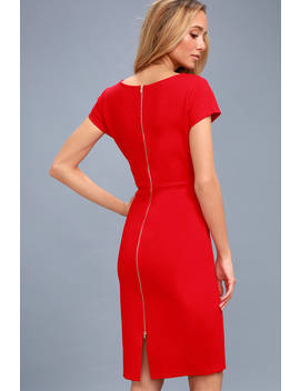 Business Of Love Red Bodycon Midi Dress by Lulus
