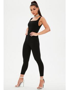 Black Square Neck Unitard Jumpsuit by Missguided