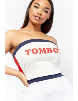 Plus Size Tomboy Graphic Tube Top by Forever 21