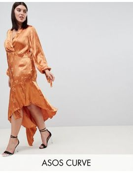 Asos Design Curve Soft Floral Jacquard Midi Dress With Asymmetric Hem by Asos Design