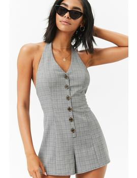 Glen Plaid Button Up Halter Neckline Romper by Forever 21