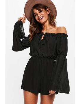 Black Bardot Gypsy Tie Detail Romper by Missguided