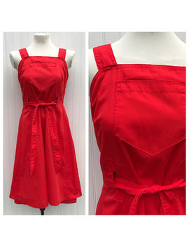 Adorable Vintage Handmade Red Wrap Dress   Sundress  Large Pocket   60s Wrap Dress   Size Small   So Retro by Etsy