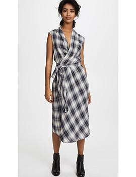 Shadow Plaid Sleeveless Wrap Dress by Vince