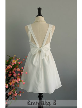 White Prom Dress Bridesmaid White Dress Backless Party Cocktail Dress Bow Back Dress White Short Bridesmaid Dress Short Party Dress by Etsy