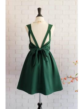 Forest Green Dress Green Party Dress Green Prom Dress Green Cocktail Dress Bow Back Dress Dark Green Bridesmaid Dresses Green Dress by Etsy