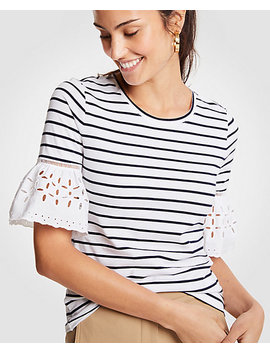 Stripe Eyelet Flare Sleeve Top by Ann Taylor