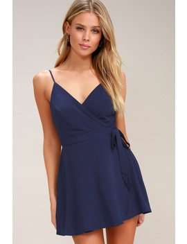Camden Navy Blue Wrap Skort Dress by Lulus